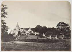 Approach from the River (Irrawaddy) to the great Mengoon Pagoda. 1868
